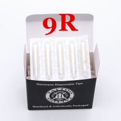 9RT- Hurricane White Plastic Disposable Tips, Box of  50PCS