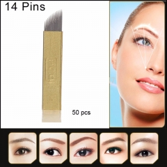 50pcs PCD 14 Needles Bevel Permanent Makeup Eyebrow Blade