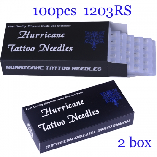 100Pcs Round Shader Super Quality Hurricane Tattoo Needles 1203RS with 2BOX