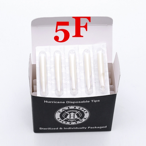 5FT- Hurricane White Plastic Disposable Tips, Box of  50PCS