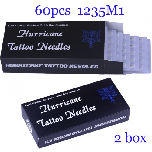 100Pcs Single Stack Magnum Super Quality Hurricane Tattoo Needles 1235M1 with 2BOX