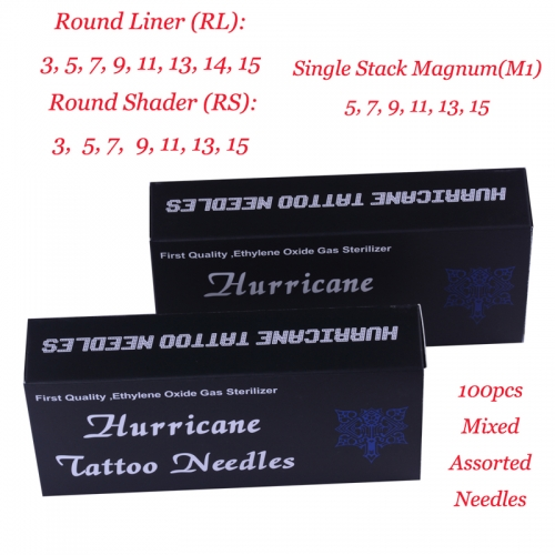 Hurricane Tattoo Needles, Choose 100pcs Mixed size by yourself